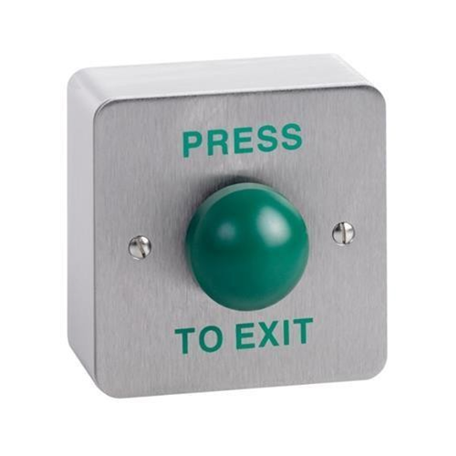 Surface mount green dome single gang exit button. Stainless steel faceplate and surface mount shroud, engraved PRESS TO EXIT