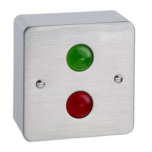 Surface mount traffic light 12Vdc. Stainless steel faceplate and surface shroud. Red and green LED indicators