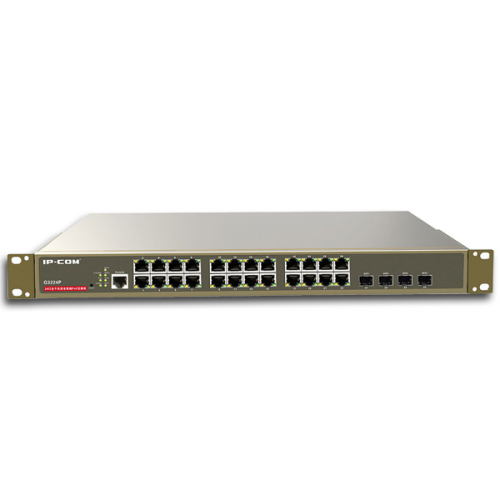 24 Port Gigabit PoE Smart Switch with 4 SFP Ports (30W Max per port, 370W Total PoE Budget) (Each)