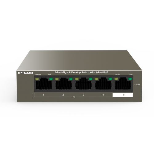 5 Port Gigabit Switch with 4 Ports PoE (30W Max per port, 58W Total PoE Budget)