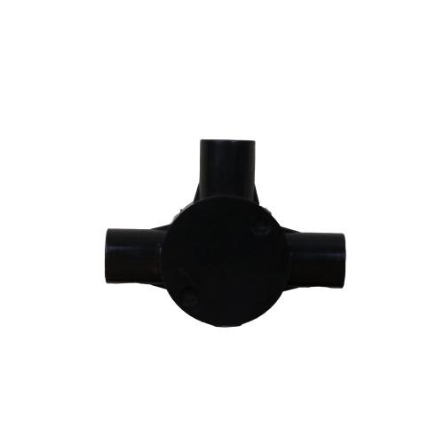 CMW Ltd, Plastic Rigid Conduit Dietzel Univolt uPVC,  | 25mm Black Tee Box for 25mm Black PVC Conduit Tube