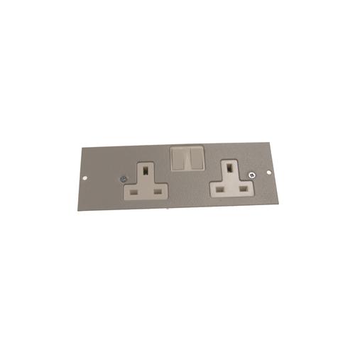 TASS ST0291 | Single & Three Compartment Twin 13A Switch Socket Light Grey