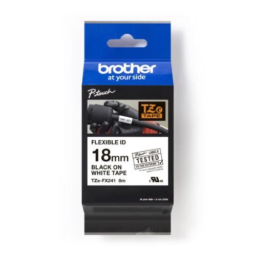 Brother Pro Tape TZe-FX241 Flexible ID tape - Black on White, 18mm
