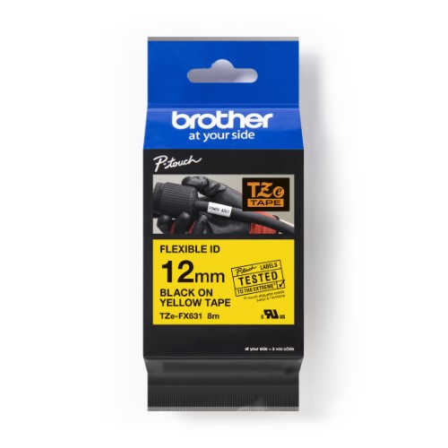 Brother Pro Tape TZe-FX631 Flexible ID tape - Black on Yellow, 12mm
