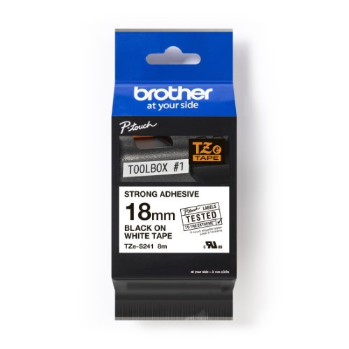 Brother Pro Tape TZe-S241 Strong adhesive tape - Black on White, 18mm