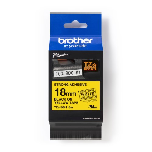 Brother Pro Tape TZe-S641 Strong adhesive tape - Black on Yellow, 18mm