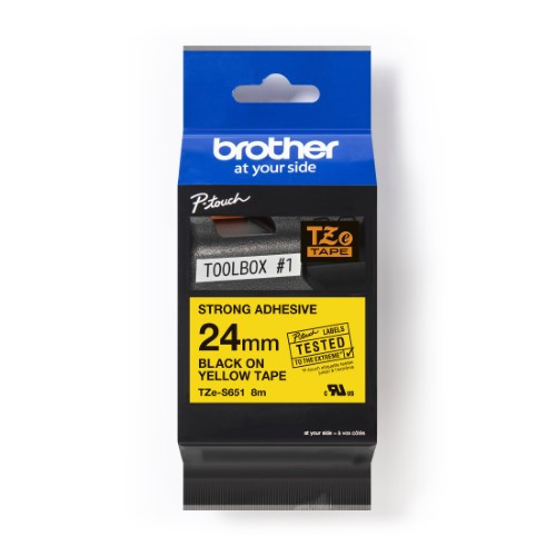 Brother Pro Tape TZe-S651 Strong adhesive tape - Black on Yellow, 24mm