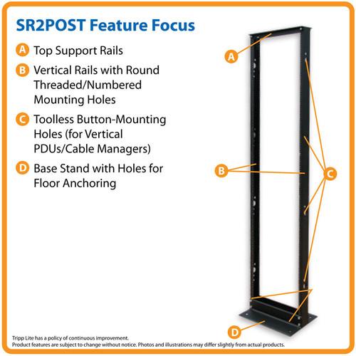 Tripp Lite SR2POST 45U SmartRack 2-Post Open Frame Rack, 800-lb. Capacity - Organize and Secure Network Rack Equipment | CMW Ltd