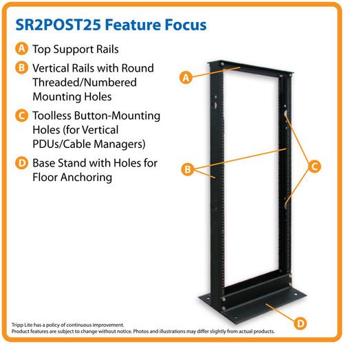 Tripp Lite SR2POST25 25U SmartRack 2-Post Open Frame Rack - Organize and Secure Network Rack Equipment   CMW Ltd