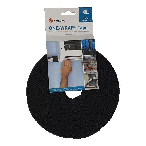 Velcro VEL-OW64127   Black 16mm Wide VELCRO® Brand ONE-WRAP® Tape (25m roll)
