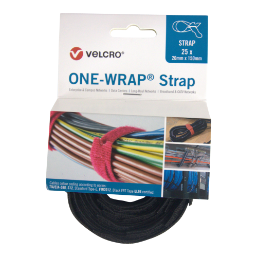 Velcro VEL-OW64401 | Black 150mm 20mm VELCRO® Brand ONE-WRAP® Cable Ties (Reel / 25)