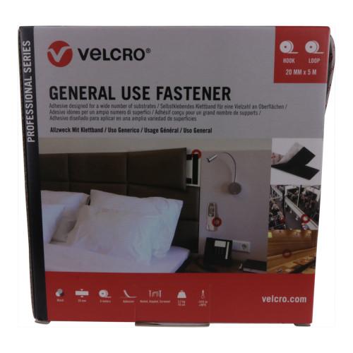 Velcro VEL-PS20002   VELCRO® Brand Pro Trade General Use Fastener 20mm x 5m Black