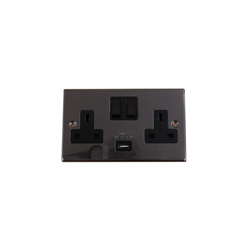 Black Nickel 2G 13a Switch with 2.1a USB (Each)