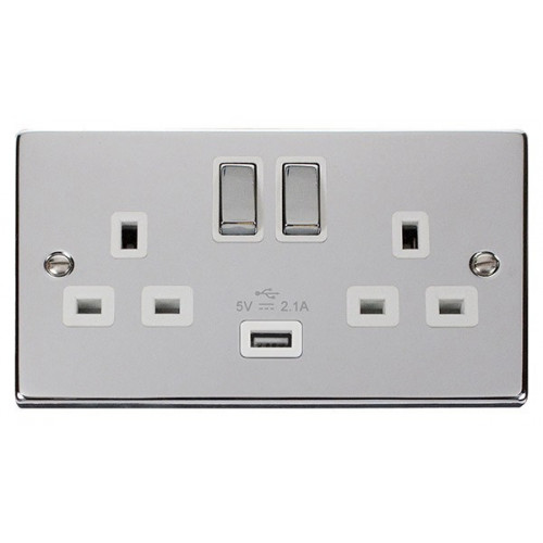 Scolmore VPCH570WH | Polished Chrome 2G 13a Switch with 2.1a USB