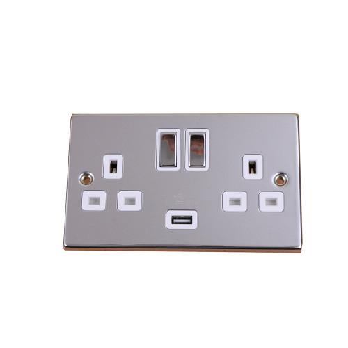 Polished Chrome 2G 13a Switch with 2.1a USB (Each)