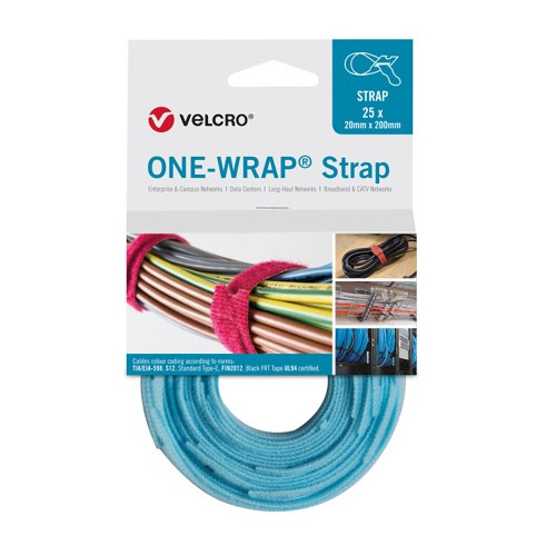 Aqua 200mm 13mm VELCRO® Brand ONE-WRAP® Cable Ties (Reel / 25)
