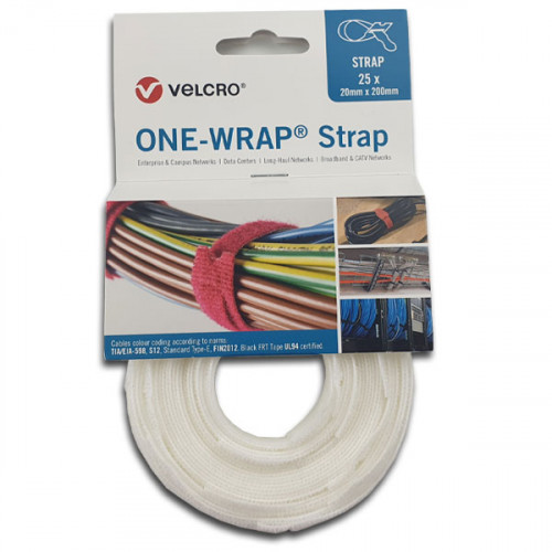 White 200mm 20mm VELCRO® Brand ONE-WRAP® Cable Ties (Reel / 25)