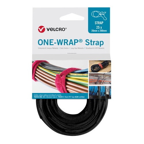 Velcro VEL-OW64701 | Black 330mm x 20mm VELCRO® Brand ONE-WRAP® Cable Ties (Reel / 25)