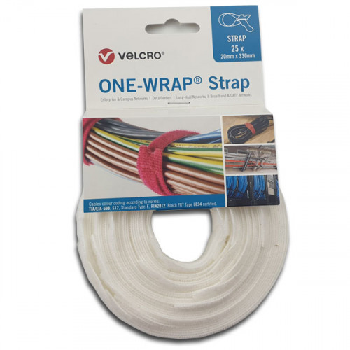 White 330mm x 20mm VELCRO® Brand ONE-WRAP® Cable Ties (reel/25)