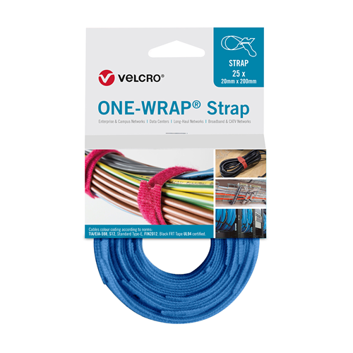 Royal Blue 200mm 20mm VELCRO® Brand ONE-WRAP® Cable Ties (Reel / 25)