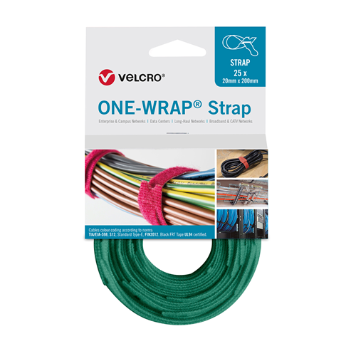 Green 200mm 13mm VELCRO® Brand ONE-WRAP® Cable Ties (Reel / 25)