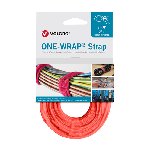 Orange 200mm 13mm VELCRO® Brand ONE-WRAP® Cable Ties (Reel / 25)