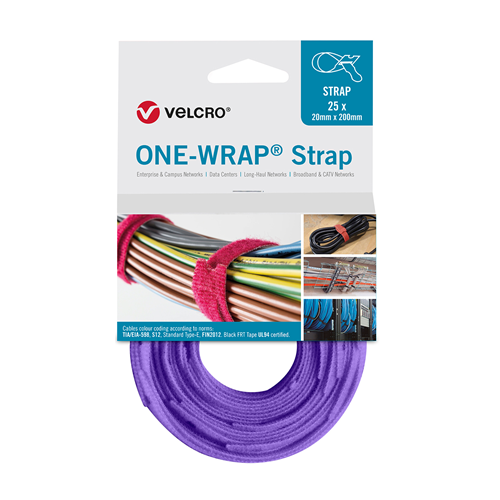 Purple 200mm 20mm VELCRO® Brand ONE-WRAP® Cable Ties (Reel / 25)