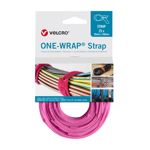 Pink 200mm 13mm VELCRO® Brand ONE-WRAP® Cable Ties (Reel / 25)