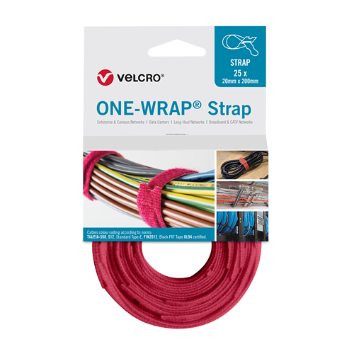 Red 200mm 20mm VELCRO® Brand ONE-WRAP® Cable Ties (Reel / 25)