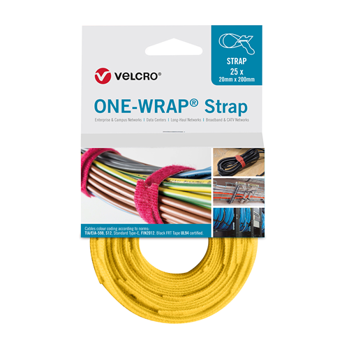 Yellow 200mm 20mm VELCRO® Brand ONE-WRAP® Cable Ties (Reel / 25)