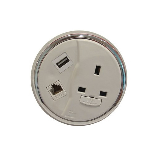 CMD Porthole In Desk Module 1 x 13A UK Power - 1 x USB Socket - 1 x Cat6 Data Module 80mm White (Each)