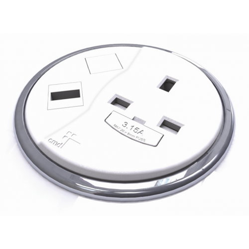 CMD Porthole In Desk Module 1 x 13A UK Power - 1 x USB Socket 80mm White (Each)