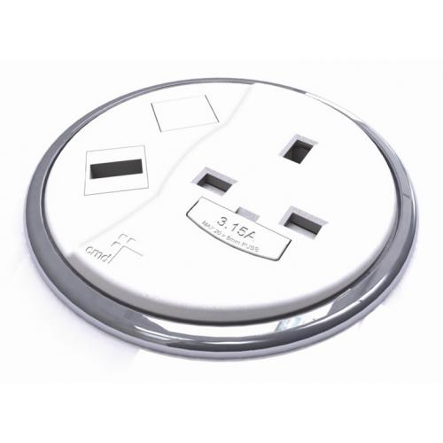 CMW Ltd    CMD Porthole In Desk Module 1 x 13A UK Power - 1 x USB Socket 80mm White