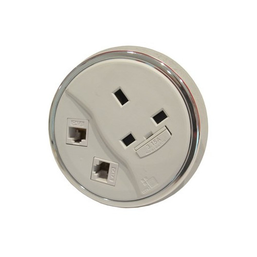CMD Porthole In Desk Module 1 x 13A UK Power - 2 x Cat6 Data Module 80mm White (Each)