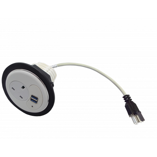 CMW Ltd Desk Cable Management | In Desk Module 1 x 13A UK Power - 2 x USB Socket 80mm White