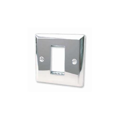 CMW Ltd  | Single Polished Chrome Bevelled Edge Plate accepts 1 EURO Module 50x25mm