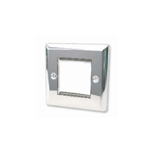 Double Polished Chrome Bevelled Edge Plate accepts 2 EURO Modules 50x25mm (Each)