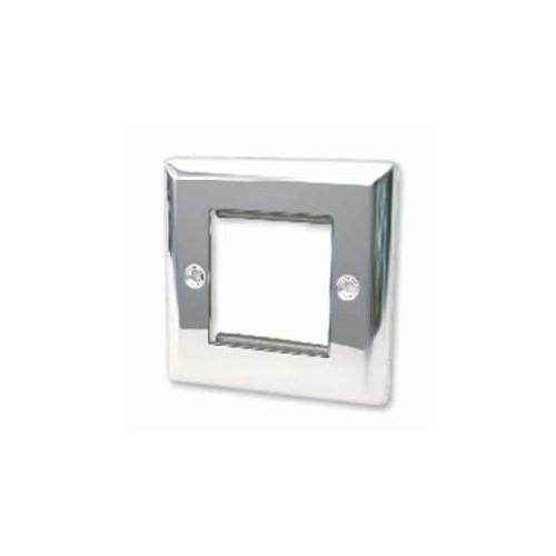 CMW Ltd  | Double Polished Chrome Bevelled Edge Plate accepts 2 EURO Modules 50x25mm