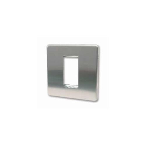 Single Brushed Steel Screwless Plate accepts 1 EURO Module 50x25mm (Each)