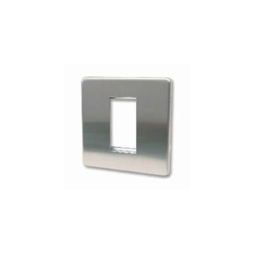 CMW Ltd  | Single Brushed Steel Screwless Plate accepts 1 EURO Module 50x25mm