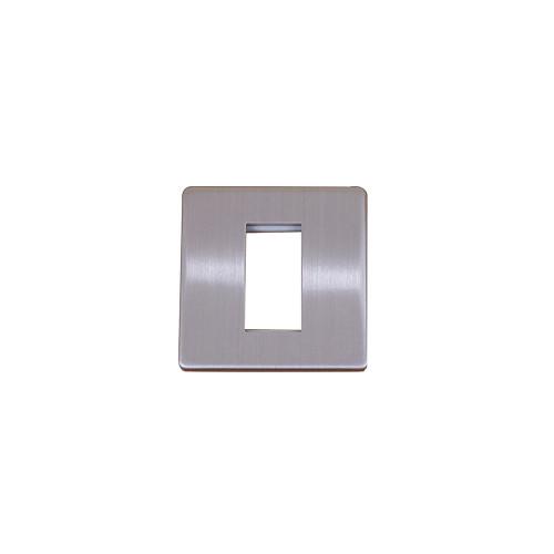 Kauden  Single Brushed Steel Screwless Plate accepts 1 EURO Module 50x25mm
