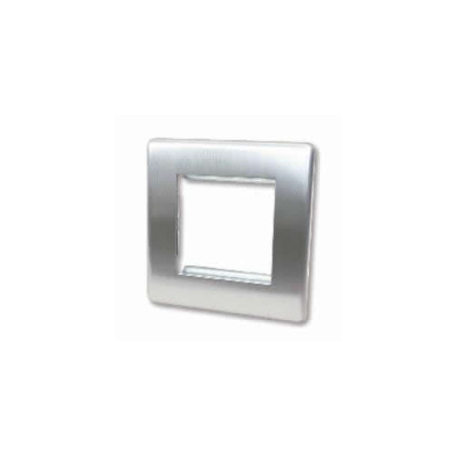 Double Brushed Steel Screwless Plate accepts 2 EURO Modules 50x25mm (Each)