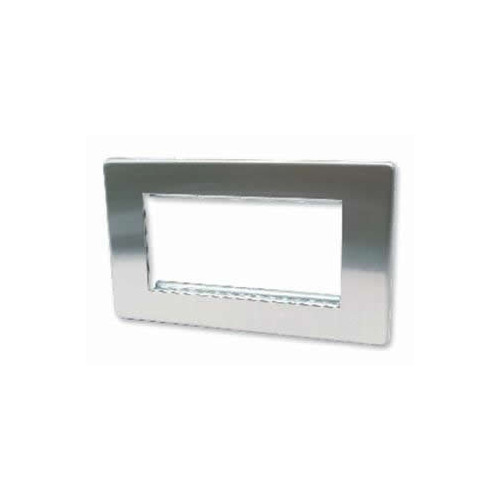 Quad Brushed Steel Screwless Plate accepts 4 EURO Modules 50x25mm (Each)