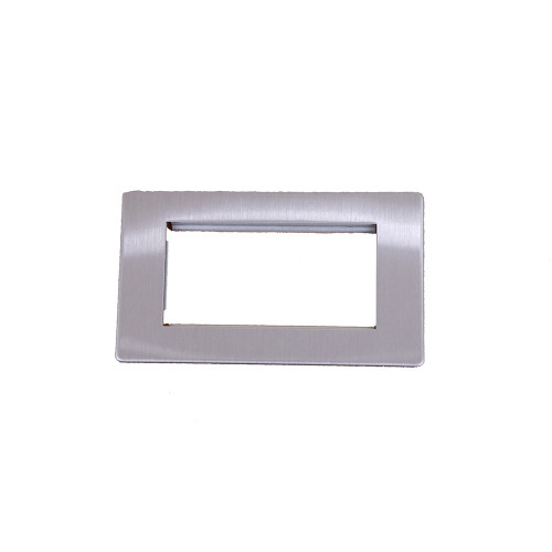 Kauden  2 gang, Brushed Steel Screwless Data Grid Plate, accepts up to 4 EURO Modules sized 50mm x25mm