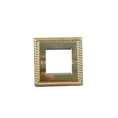 Double Georgian Brass Faceplateaccepts 2 EURO Modules 50x25mm (Each)