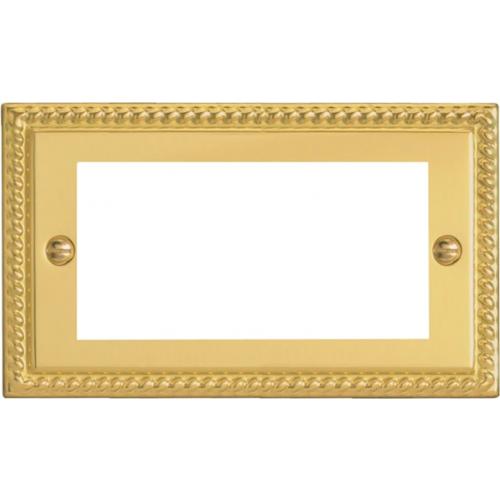 Quad Georgian Brass Faceplate accepts 4 EURO Modules 50x25mm (Each)