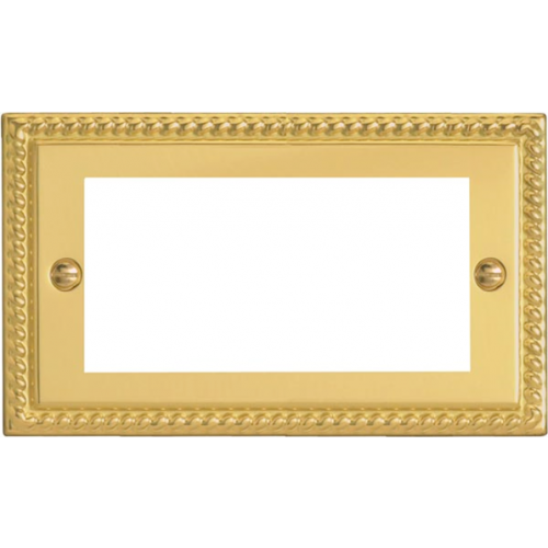 Varilight 0 | Quad Georgian Brass Faceplate accepts 4 EURO Modules 50mm x25mm