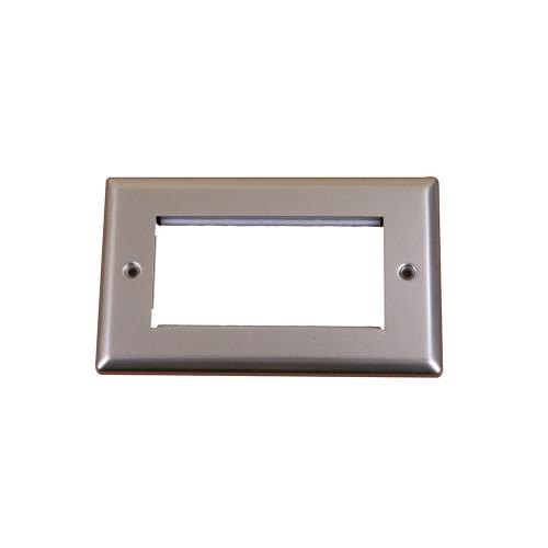 Scolmore DPSC312 Quad Satin Chrome Bevelled Edge Plate accepts 4 EURO Modules 50x25mm