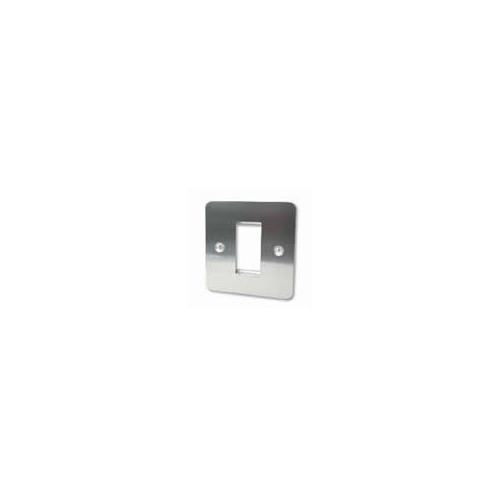 Single Brushed Steel Flat Edge Plate accepts 1 EURO Module 50x25mm (Each)