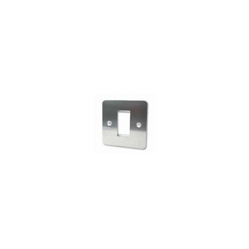 CMW Ltd  | Single Brushed Steel Flat Edge Plate accepts 1 EURO Module 50x25mm